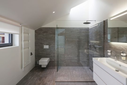 production of trading aluminium materials Bathroom of a modern house
